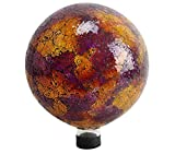 Outdoor Garden Backyard Décor Mosaic Gazing Globe, 10'', Pink/Yellow with Red