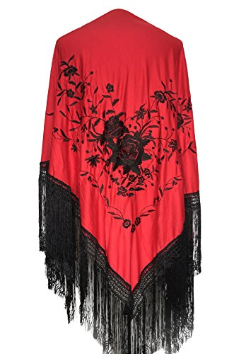 La Senorita Spanish Flamenco Dance red black with black Fringes Large]()