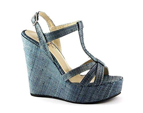 mesetas divina mujer de Blu Locura cuña correa sandalias rafia azul de 3082 6dqxzp8