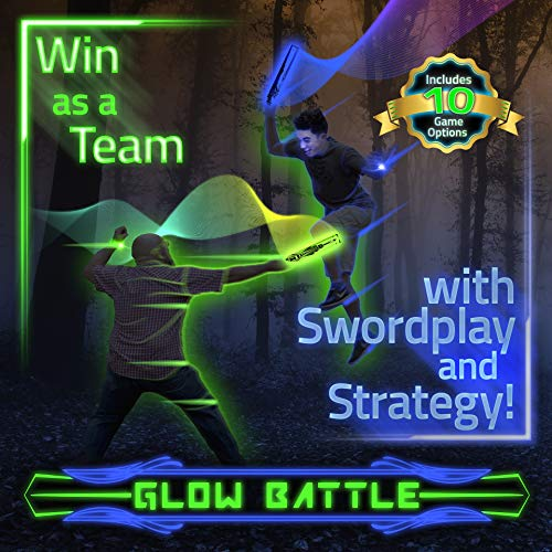 Glow Battle: A Light-Up Sword Game for Groups with 10 Ways to Play – Glow-in-The-Dark, Indoor & Outdoor Active Fun for Kids, Teens and Adults ()
