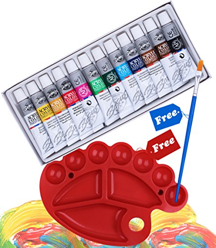 Corla Art Acrylic Paint Set of 12 Vivid Colors, Non-Toxic Rich Pigments Painting Kit with Paint Brush and Pallet for Painting Canvas, Clay, Fabric, Ceramic & Crafts (12 x 12ml)