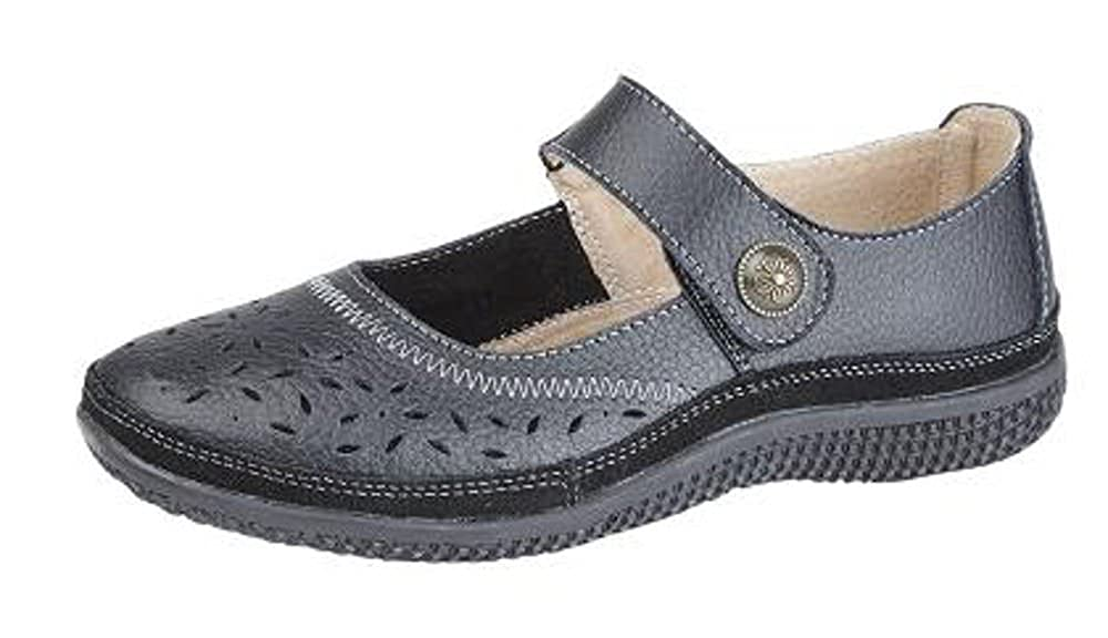 92dc3c7504ac WOMENS LEATHER WIDE EEE FIT VELCRO CASUAL SHOES SIZE 4 - 9 BLACK (5)   Amazon.co.uk  Shoes   Bags