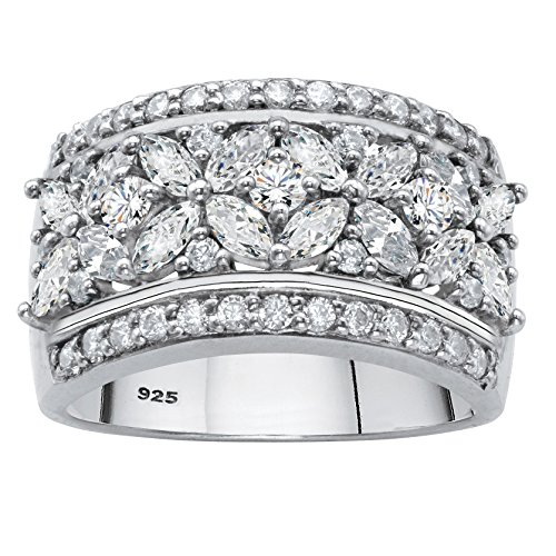 Platinum over Sterling Silver Marquise Cut Cubic Zirconia Floral Multi Row Ring Size 7