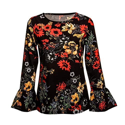 Courte Trydoit Femme en Mousseline T Shirt Soie Manches Floral Manche Chemise Longues Imprim De Orange rIqwrOxF