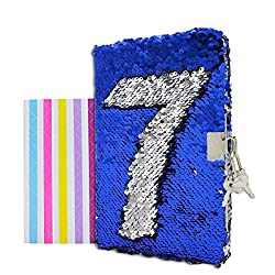 Blue to Silver Reversible Sequin Notebook Diary with Lock and Key