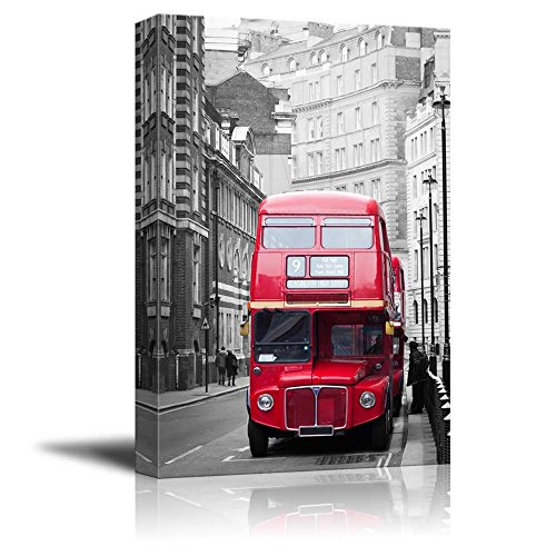 Pop of Color The Red Bus in London Red Color Stands Out Against Black and White Background