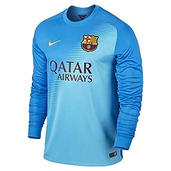 c0abdb65433 2014-2015 Barcelona Away Nike Goalkeeper Shirt (Blue) - Kids: Amazon.co.uk:  Clothing