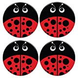 CARIBOU ROUND Ceramic Stone Coasters 4pcs Set, Mug Coffee Cup Place Mat Home Coasters for Hot & Cold Drinks, Red LadyBug