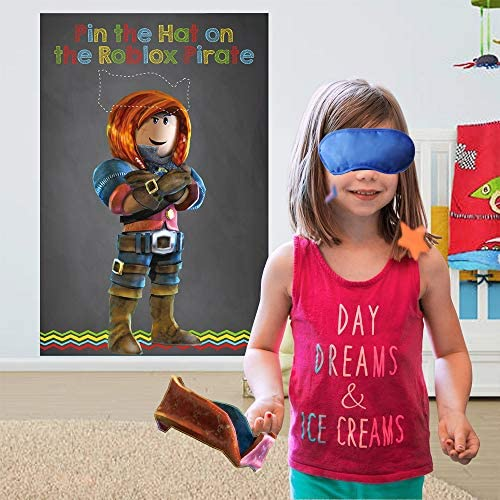 Pin The Hat on The Pirate Birthday Party Game, Robot Blocks Party Decorations Supplies Building Block Party Games(24 Hats) Black