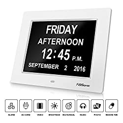 Digital Wall Clock, FiBiSonic large Display White Desk Clock Music and Photo Player with Date & Alarms Pratical for Elderly People, Medicine Reminder for Personal Care, Nice Gift for Parents