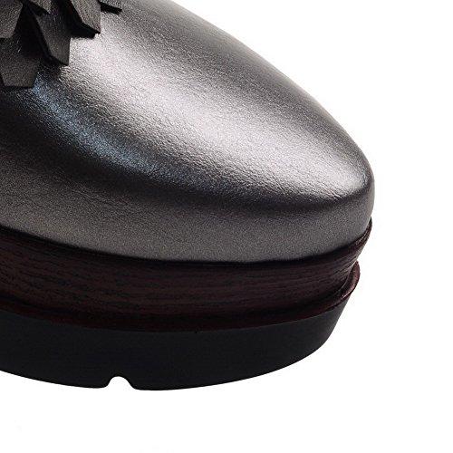 Petit Tirer Fait Talon Sur Femmes Pu Ont Voguezone009 Argent Un Pompes Solide Chaussures Orteil Fermé qg81C