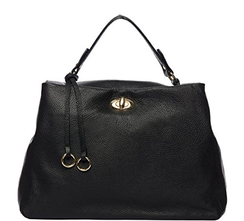 SUPERFLYBAGS Borsa Donna a Mano in Vera Pelle morbida modello Verig Made in Italy Nero