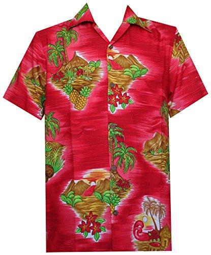 Alvish Hawaiian Shirt 8 Mens Scenic Flower Print Beach Aloha Party Red S - Scenic Print Hawaiian Shirt