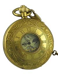 VIGOROSO Men's Vintage Golden Copper Moon Phase Roman Numbers Hunter Hand Winding Mechanical Pocket Watch