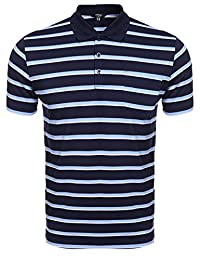 COOFANDY Men's Classic Fit Striped Golf Polo Shirt Short Sleeve Fashion T-Shirt