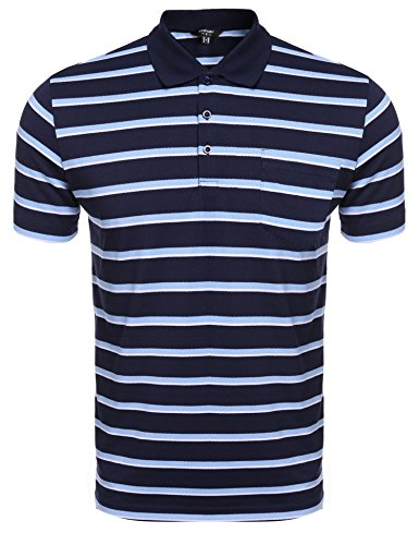 Coofandy Men's Short Sleeve Striped Classic-Fit Golf Polo Shirt (Leisure Suits For Sale)
