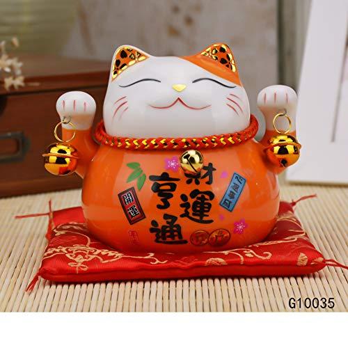 GE&YOBBY Creative Money Box,Mini Japaneses Maneki Neko Lucky Cat Piggy Bank for Home Decor Ideal Gift-Orange 11x9.5x10cm(4x4x4inch)