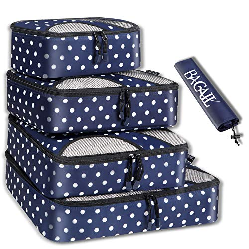 BAGAIL 4 Set Packing Cubes,Travel Luggage Packing Organizers with Laundry Bag Navy Dot (Cubes Reviews Packing)