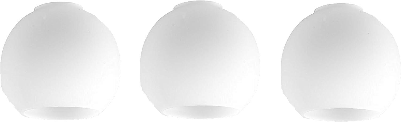 MiniSun – Set de 3 tulipas de cristal ácido de repuesto para lámpara de techo o pared – con forma ovalada arco