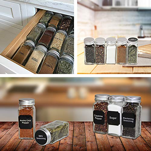 Meckily 24 Glass Spice Jars- Square Glass Containers With Square Empty Jars 4oz, Airtight Cap, Chalkboard & Clear Label, Shaker Insert Tops and Wide Funnel - Complete Organizer Set by MEckily (Image #5)