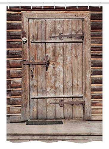 (Ambesonne Rustic Stall Shower Curtain, Timber Rustic Door in Wall of an Old Log House Ancient Abandoned Building Entrance Gate, Fabric Bathroom Decor Set with Hooks, 54 W x 78 L Inches, Brown)