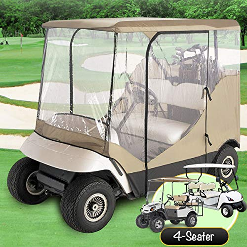 North East Harbor Waterproof Superior Beige and Transparent Golf CART Cover Covers Enclosure Club CAR, EZGO, Yamaha, FITS Most Four-Person Golf CARTS ()