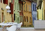 Photo wallpaper wall mural - Colorful Old House Facades Narrow Alley - Theme Travel & Maps - L - 8ft 4in x 6ft (WxH) - 2 Pieces - Printed on 130gsm Non-Woven Paper - 1X-26505V4