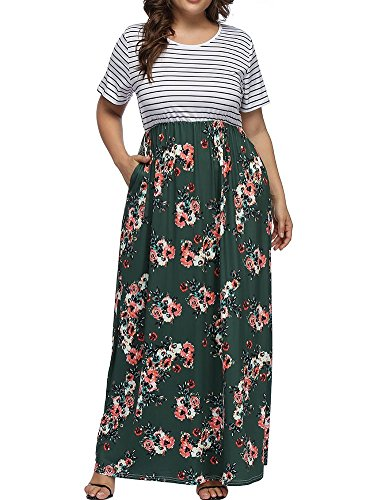 Floral Dress Green Sleeve Dresses Size Print Women's Plus Maxi Striped a Patchwork Short Allegrace Long 8FOnBt