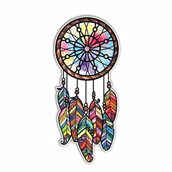 Meganjdesigns dreamcatcher sticker colorful feathers bumper sticker laptop decal cute car decal hippie native american tribal