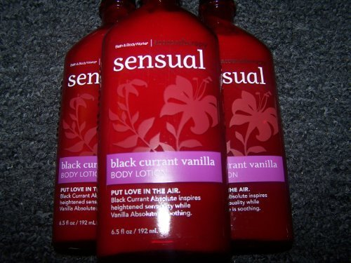 Lot of 3 Bath & Body Works Aromatherapy Sensual Black Currant Vanilla Body Lotion (Black Currant Vanilla)