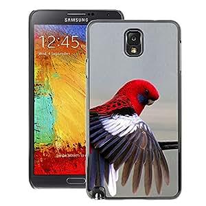 A-type Arte & diseño plástico duro Fundas Cover Cubre Hard Case Cover para Samsung Note 3 N9000 (Red Parrot Grey Pastel Tropical Bird Feather)