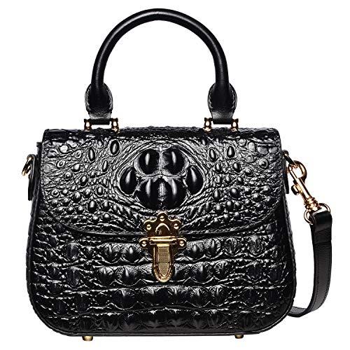 PIJUSHI Leather Crossbody Shoulder Bags for Women Crocodile Satchel Bags (99806 Black)