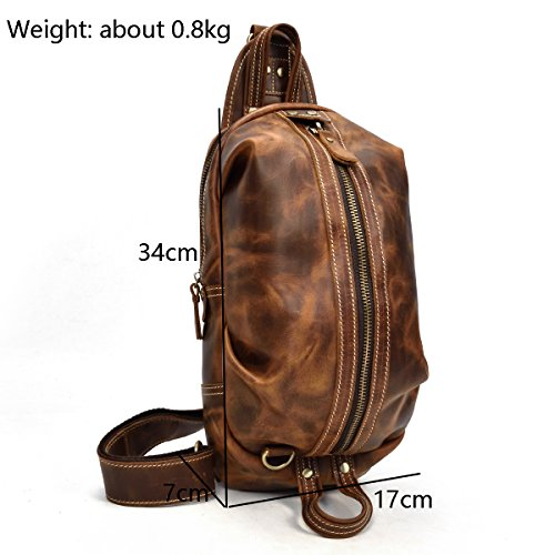 Shoulder Cross Body Bag Brown Durable Retro Small Leather 3 Chest Genuine Sling One Men's 2way qv4010