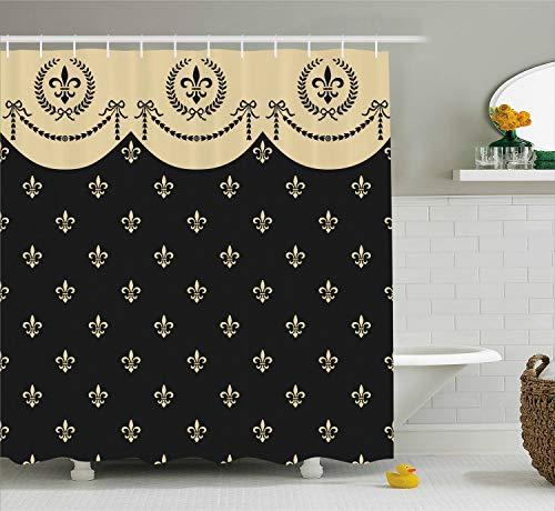 - Ambesonne French Shower Curtain by, Pattern of Fleur de Lis Ancient Symbol Illustration Baroque Inspired Print, Fabric Bathroom Decor Set with Hooks, 75 Inches Long, Charcoal Grey Ivory