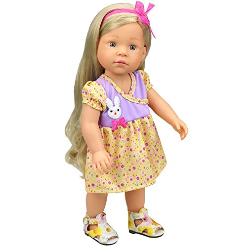 (AMOFINY New Pretty Small Rabbit Decoration Doll Dresses Girl Doll For 16 Inch)