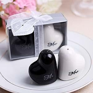 Mr and Mrs Love Heart Ceramic Salt & Pepper Shakers Wedding Party Favor Gift , Set of 22