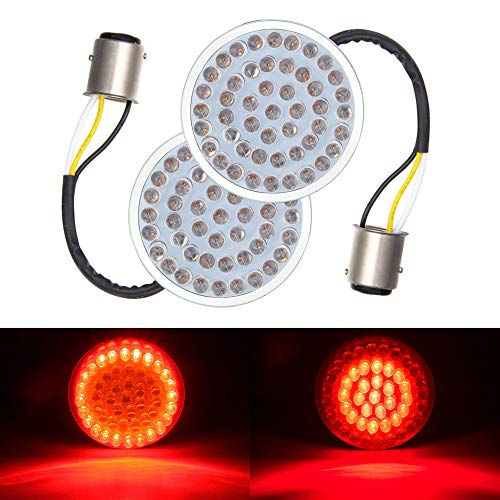 Amazicha 2'' 1157 Bullet Style LED Turn Signals Rear Brake Tail Light Compatible for Harley ()