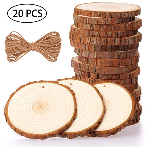 Fuyit Natural Wood Slices 20 Pcs 3.5-4 Inches Craft Wood Kit Unfinished Predrilled with Hole Wooden Circles Tree Slices for Arts and Crafts Christmas Ornaments DIY Crafts (Circle Wood Craft)