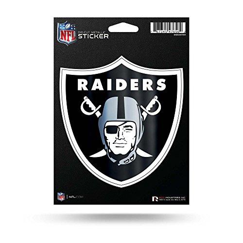 (Rico Industries NFL Oakland Raiders Die Cut Metallic StickerDie Cut Metallic Sticker, Black, 5.75 x 7.75-inches)