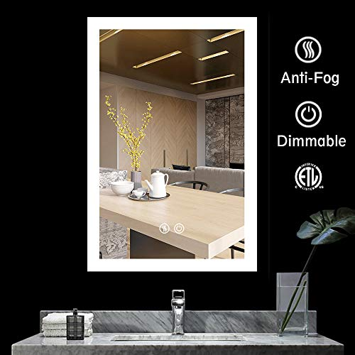 BATH KNOT Bathroom Smart Backlit Lighted Mirror with Defogger and Touch dimming - Bathroom For Back Lite Mirrors Round