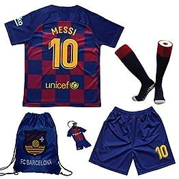 uijinzhongs Maillot de Football pour garçons #10 Messi Barcelona Home - Pantalon et Chaussette de Football pour Enfants avec Chaussettes de Football .Sac. Porte-clés