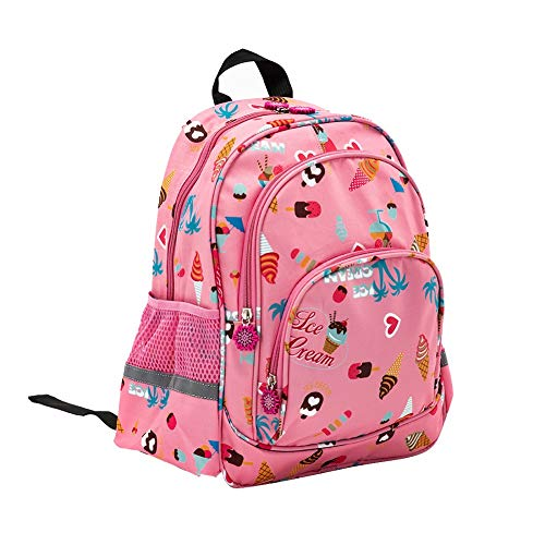 RuRu Monkey 13 Inch Kids Toddler Backpack for Girls, School Bag with Side Water Bottle Pocket, Perfect for Preschool, Daycare, and Day Trips, Pink