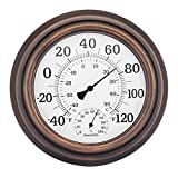 szdealhola 8-inch Bronze-coloured Metal Case Wall Thermometer Hygrometer Thermo-hygrometer Hygro-thermometer