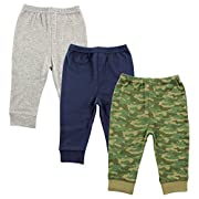 Luvable Friends Unisex 3 Pack Tapered Ankle Pants, Camo, 3-6 Months