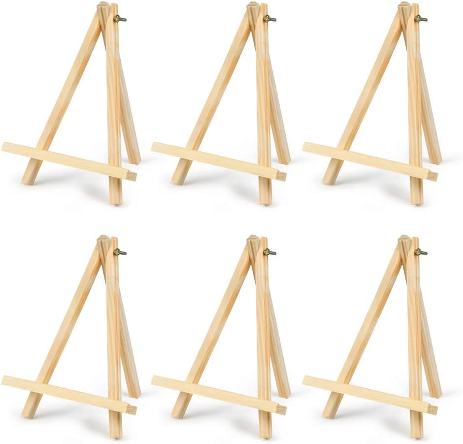 Decorative Plates 6 Pack Portable Wood Tripod Tabletop Display Easel for Artist Painting Displaying Photos Sketching 9 Tall Natural Pine Wood Tripod Easel Photo Painting Display