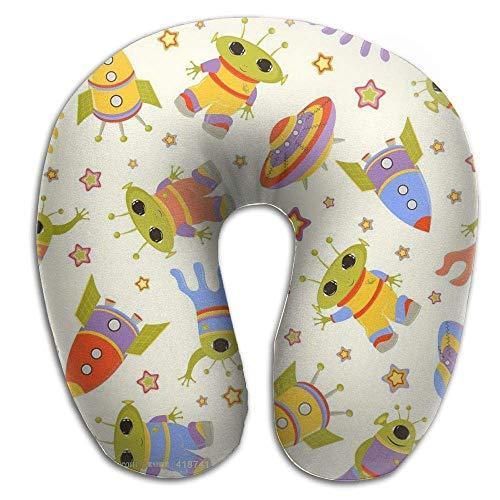 Siwbko Memory Foam Neck Pillow,Space Shuttle, Alien, Flying Saucers Travel Pillow ()