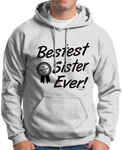 Bestest World's Best Sister Ever Gift Hoodie Sweatshirt Large Ash