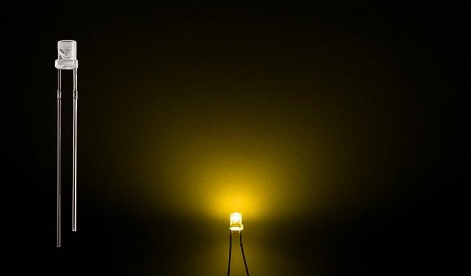 ProGoods 50x LED 3mm gelb flach | radial bedrahtete Leuchtdiode | energieeffizienter als herkömmliche Lampen | für Modellbau,Innenraumbelechtung,usw.