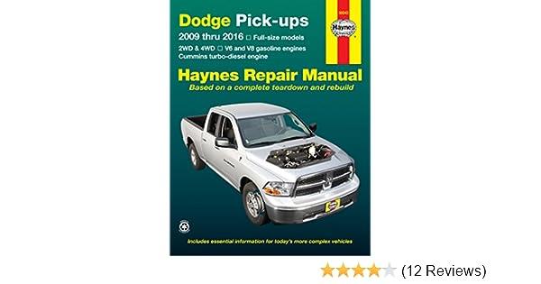 amazon com haynes repair manuals dodge full size pick ups 2009 2016 rh amazon com 2009 dodge ram service manual pdf 2009 dodge ram 1500 owners manual pdf