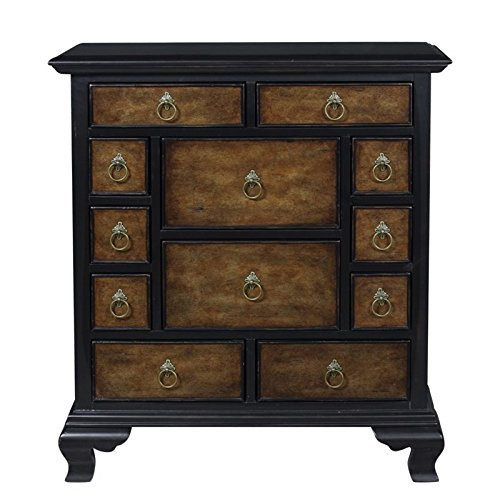 "Pulaski P020232 Millicent 12 Drawer Two Tone Accent Chest 34"" x 13"" x 38"" Maple Hue Black Finish"